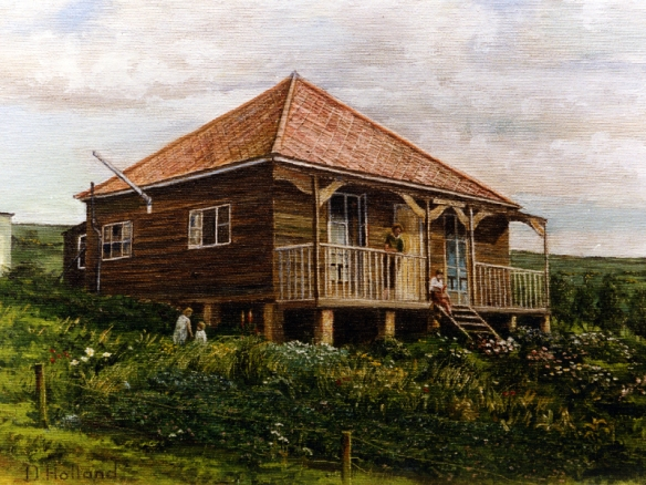 Painting of The Beehive, Crescent Drive North, Woodingdean by Douglas Holland from a c. 1930 photograph by Duncan Cuthbertson