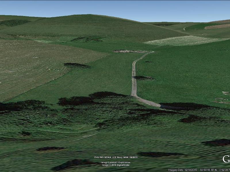Looking N at location of former Balsdean Hamlet. Screenshot taken from Google Earth.