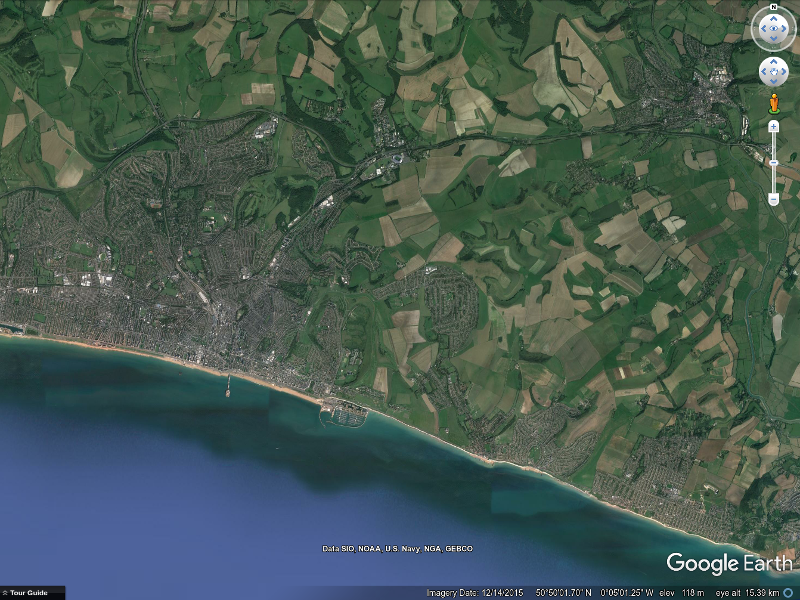 Google Earth view of Ordnance Survey grid square TQ 30, showing Lewes (top right), Brighton & Hove (bottom left) and Balsdean (right of centre)