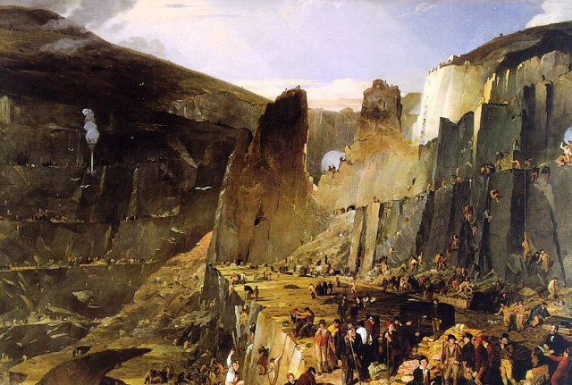 The Penrhyn Slate Quarry, by Henry Hawkins, 1832. From the National Trust Images, Penrhyn Castle.