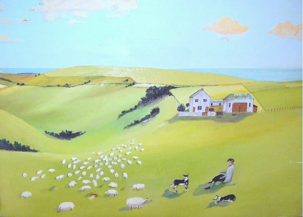 Newmarket Farm by Bob Phipps. Painted from his childhood memories.