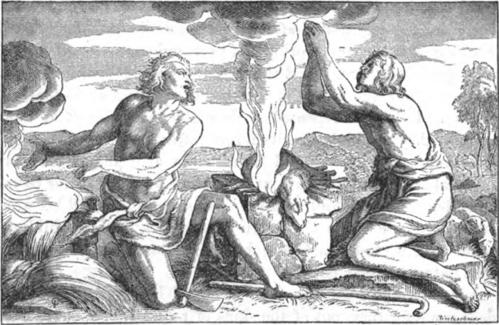 'Cain and Abel offering up sacrifices', 1873. 'The story of the Bible from Genesis to Revelation'.