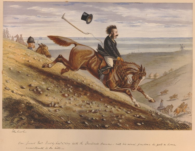 'Our friend Mr Noddy has a day with the Brookside harriers - with his usual prudence he gets a horse accustomed to the hills'; a rider hurtling down a hillside to right with terror, his hat thrown from his head and crop flying behind him; other riders, tents and a windmill on plain below at right.