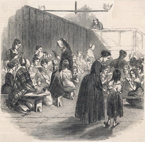 Ragged School for girls.  Illustrated London News, 1846.