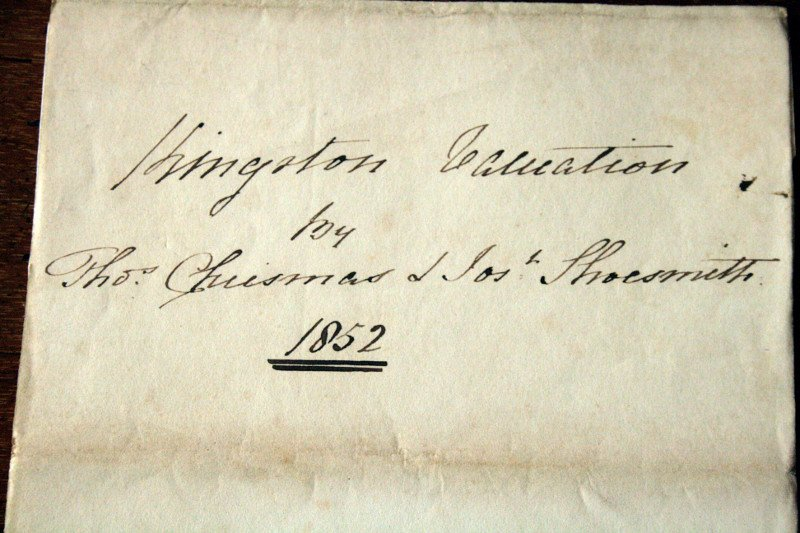 Kingston Farm valuation, 1852. From the Hodson family archive.