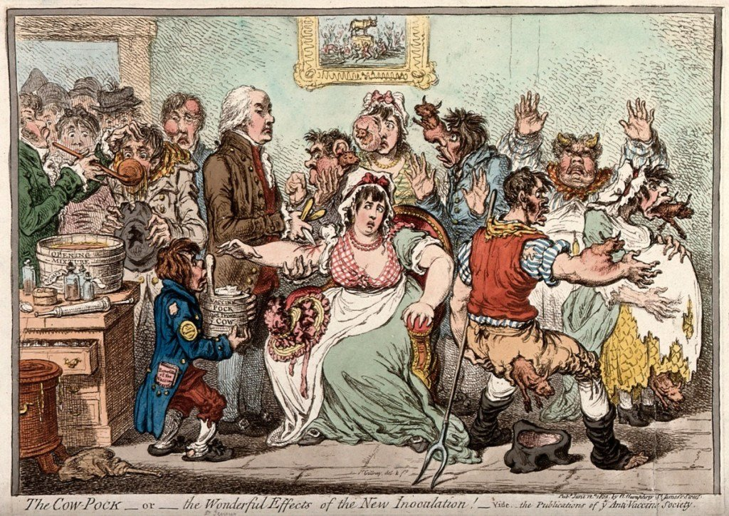 Edward Jenner vaccinating patients against smallpox. Cartoon by Gillray.