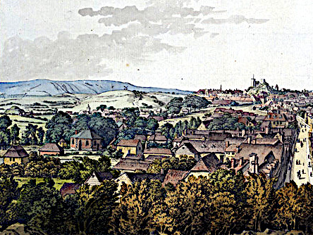Early view of Lewes with the Juggs Road climbing up out of Southover heading towards Kingston Mill (left of centre), then climbing diagonally up Kingston Ridge (far left) out of Kingston's open fields, on its way to Brighton.Early view of Lewes with the Juggs Road climbing up out of Southover heading towards Kingston Mill (left of centre), then climbing diagonally up Kingston Ridge (far left) out of Kingston's open fields, on its way to Brighton. Painting by Samuel Hieronymus Grimm, 1785.
