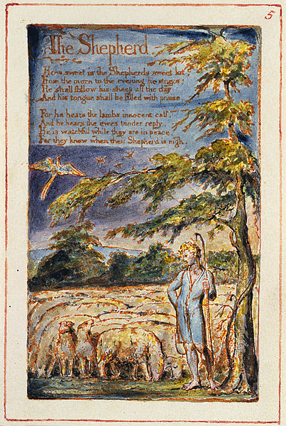 The Shepherd, Songs of Innocence and of Experience, William Blake, 1789. Image, Wikimedia.
