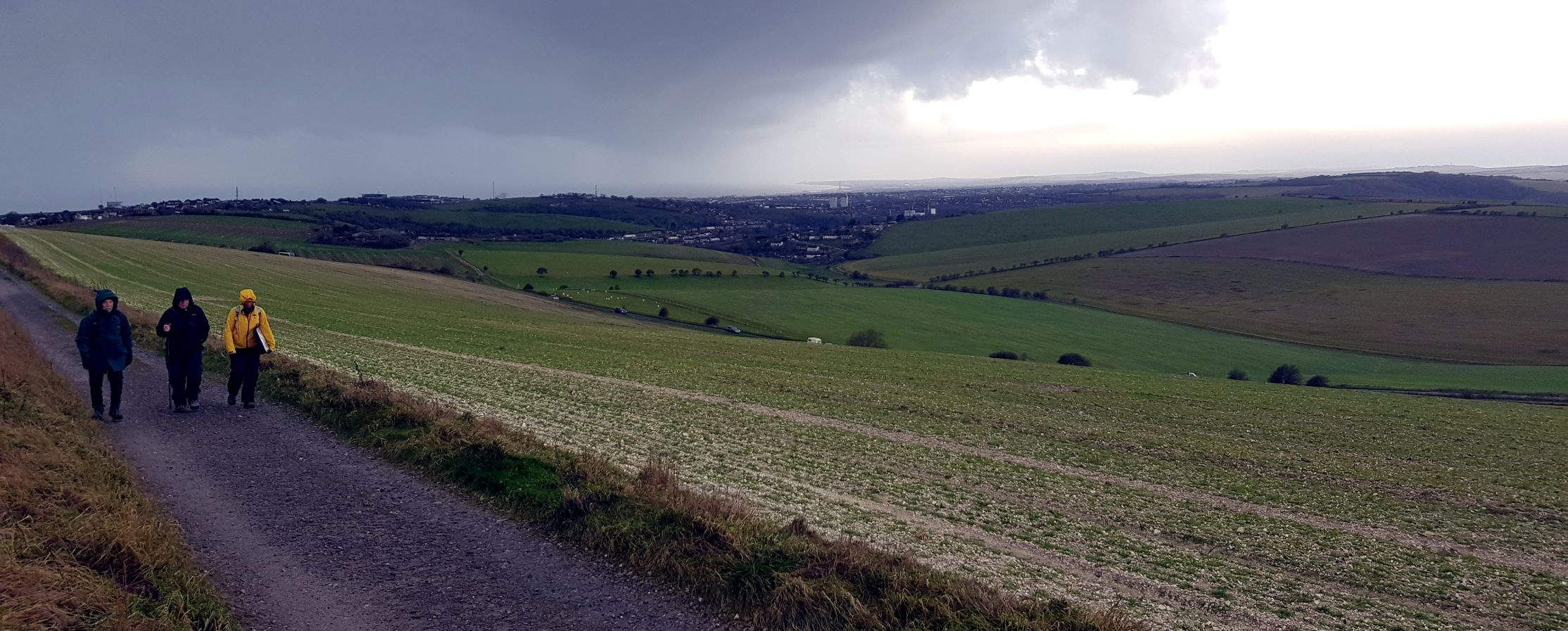 Healthwalkers climbing Newmarket Hill in rain, with Brighton in distance