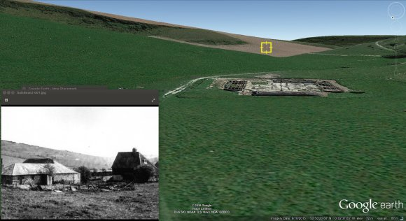 Photo of Norton Farm showing probable Livens projector gas bomb firing position, with Google Earth screenshot of same area.