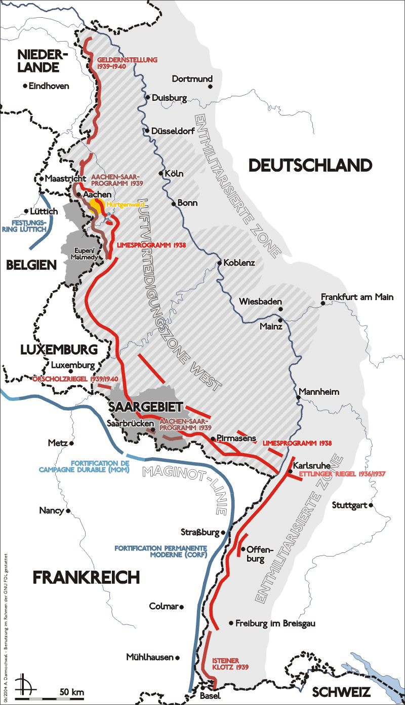 The German Siegfried Line is shown in red. The French Maginot Line is shown in blue. Image from Wikipedia.